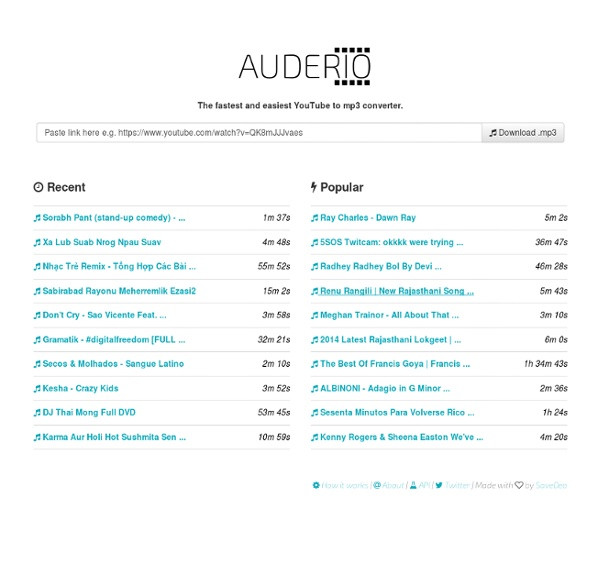 Auderio: The fastest YouTube to mp3 convertor