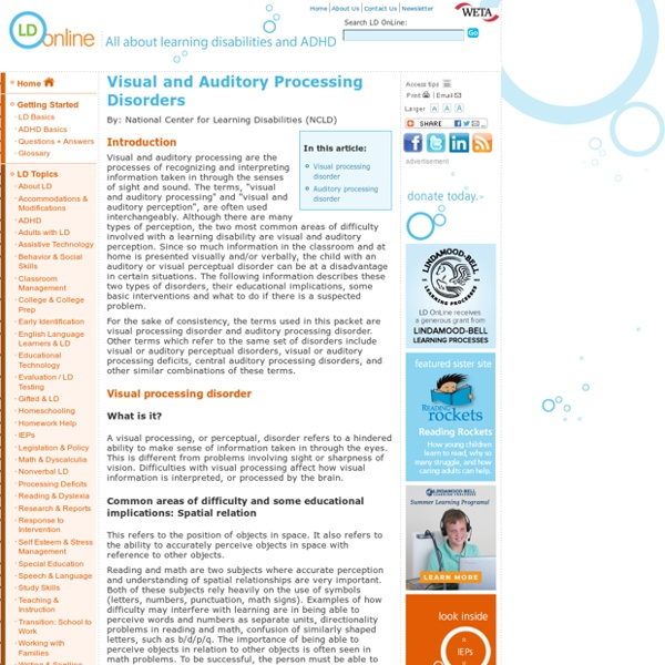 Visual and Auditory Processing Disorders