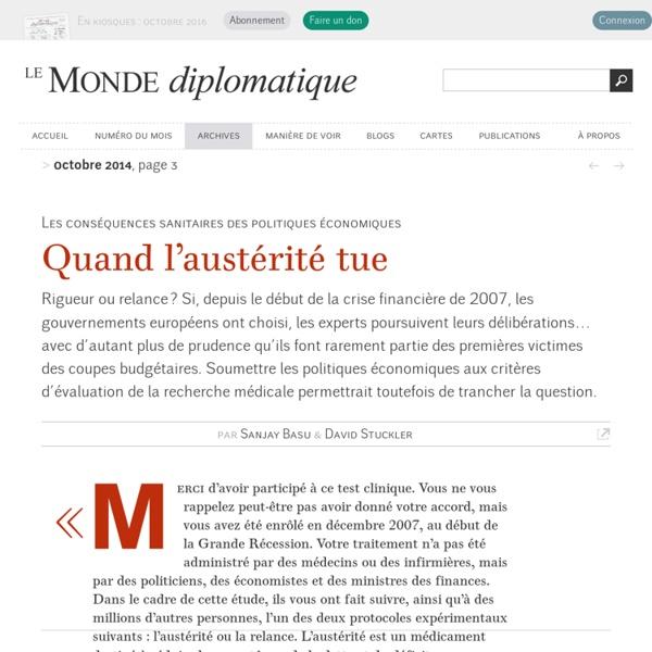 Quand l'austérité tue, par Sanjay Basu et David Stuckler (Le Monde diplomatique, octobre 2014)