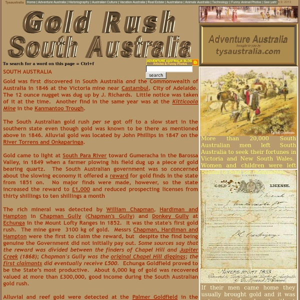 Gold Rush South Australia | find, mines, rewards, locations, South Australian Gold Rush