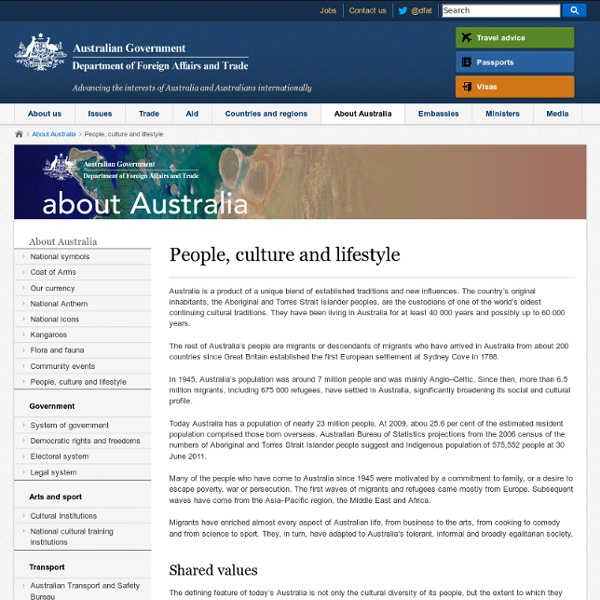 People, culture and lifestyle - About Australia - Australian Government Department of Foreign Affairs and Trade
