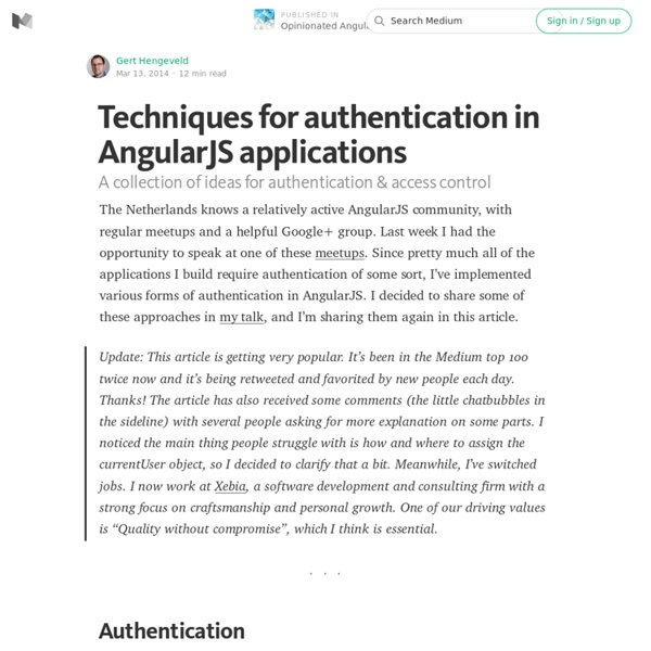 Techniques for authentication in AngularJS applications — Opinionated AngularJS
