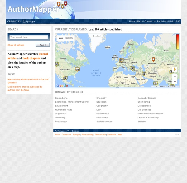 AuthorMapper - Scientific Research and Author Locations Globally