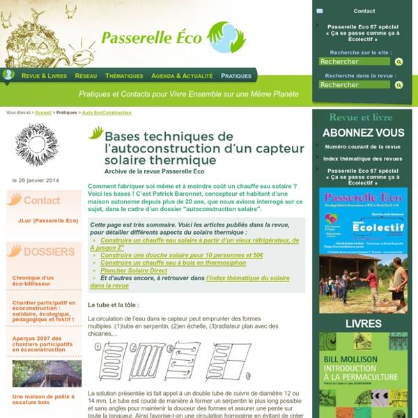 Bases techniques de l'autoconstruction d'un capteur solaire (...) - Archive de la revue Passerelle Eco - Auto EcoConstruction