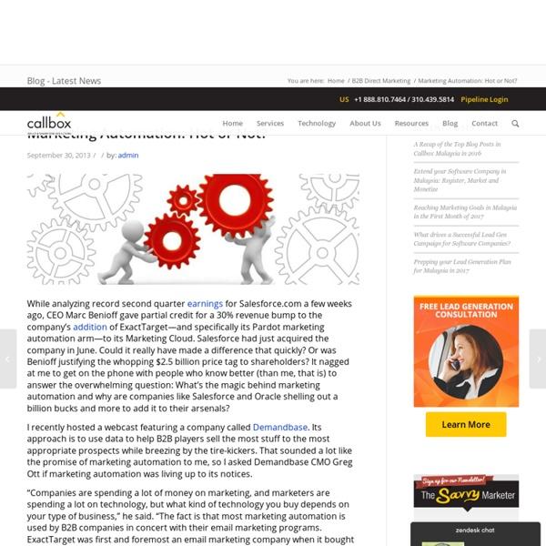 Marketing Automation: Hot or Not? - B2B Lead Generation Company Malaysia