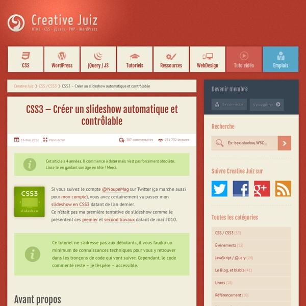 CSS3 – Créer un slideshow automatique et contrôlable - CSS / CSS3