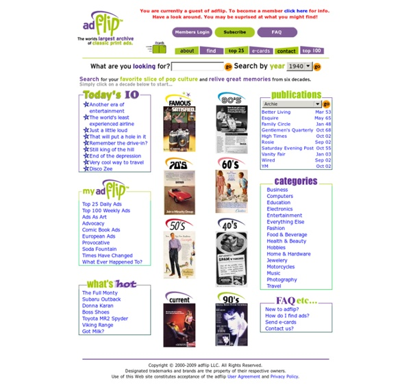 Adflip.com ^ Ads archive, greeting cards of automobile, celebrity, audio magazines advertising and more!