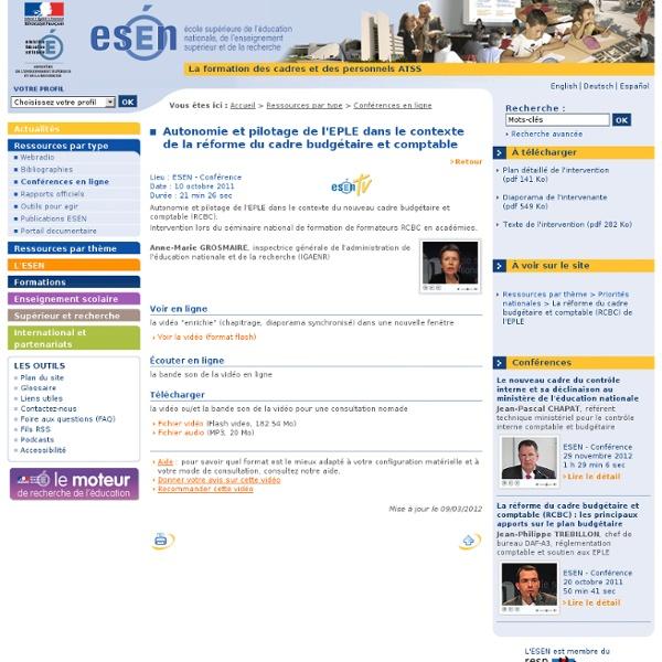 Autonomie et pilotage de l'EPLE dans le contexte de la réforme du cadre budgétaire et comptable