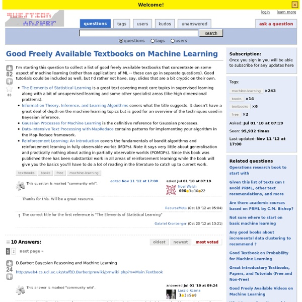 Good Freely Available Textbooks on Machine Learning