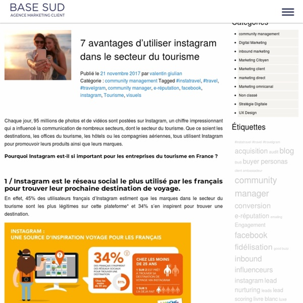 7 avantages d'utiliser instagram dans le secteur du tourisme - Base-Sud Blog