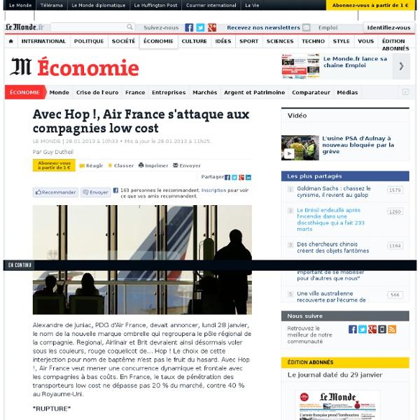 Avec Hop !, Air France s'attaque aux compagnies low cost