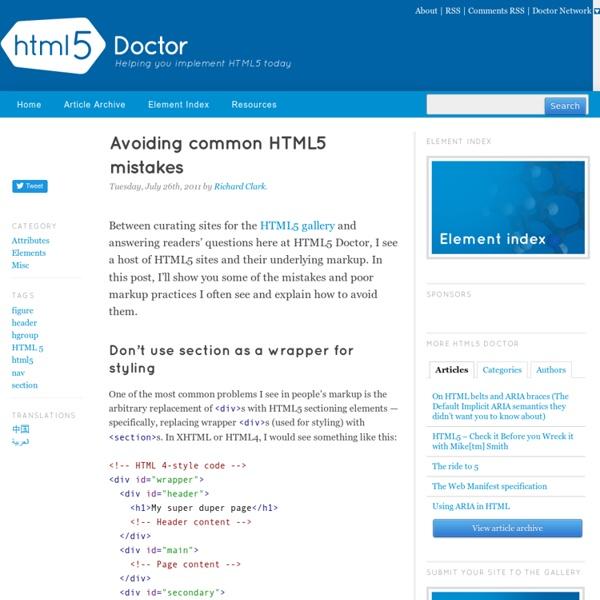 Avoiding common HTML5 mistakes