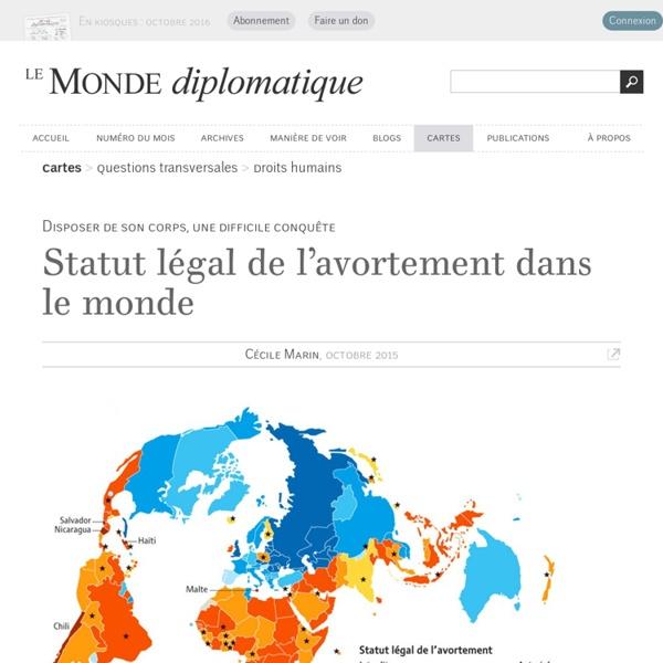 Statut légal de l'avortement dans le monde, par Cécile Marin (Le Monde diplomatique, octobre 2015)