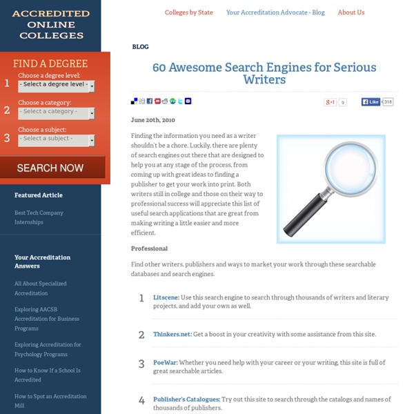 60 Awesome Search Engines for Serious Writers