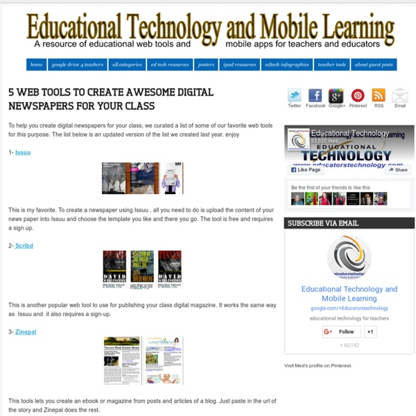 5 Web Tools to Create Awesome Digital Newspapers for Your Class