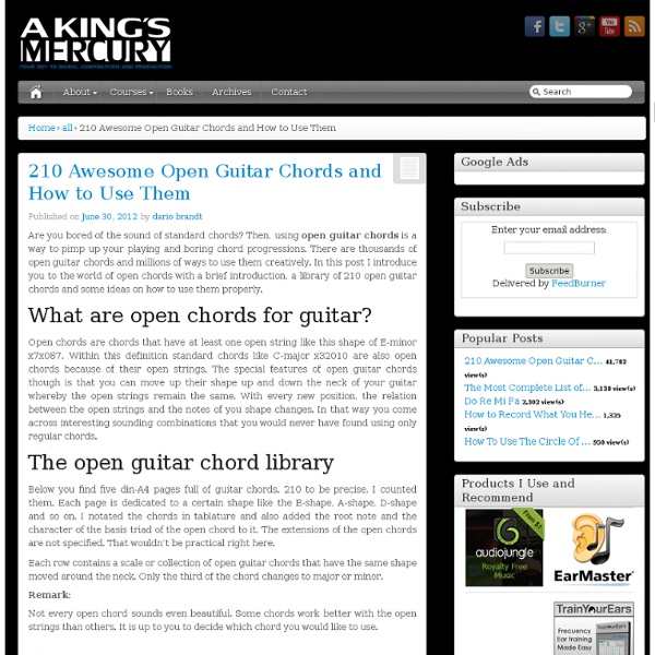 210 Awesome Open Guitar Chords and How to Use Them - A Kings Mercury