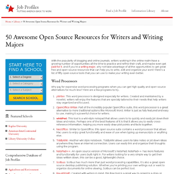 50 Awesome Open Source Resources for Writers and Writing Majors