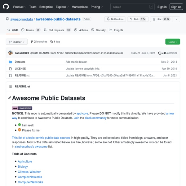 GitHub - caesar0301/awesome-public-datasets: An awesome list of high-quality open datasets in public domains (on-going).
