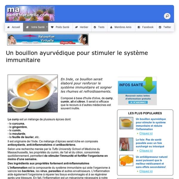 Bouillon ayurvédique / stimuler système immunitaire /réduire l'inflammation