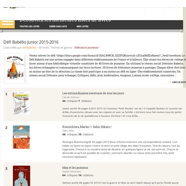 Défi Babélio Junior 2015-2016 - Liste de 30 livres