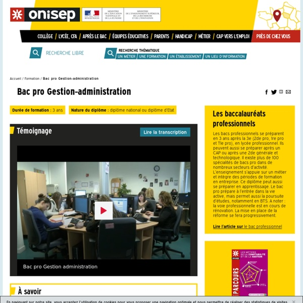 Bac pro Gestion-administration - Onisep