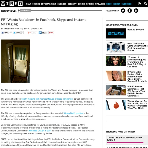 FBI Wants Backdoors in Facebook, Skype and Instant Messaging