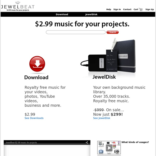 JewelBeat 99¢ Royalty free background music for video, film, website, games. Instrumental production music clips.