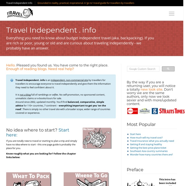 Backpacking: Budget Independent Travel - Advice, guide & packing help