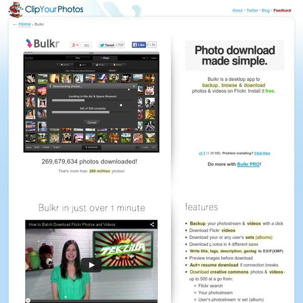 Bulkr: Backup, download flickr photos, videos, sets & more
