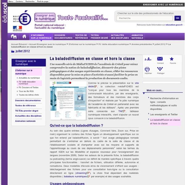 La baladodiffusion en classe et hors la classe — Éduscol Numérique, le site des professionnels de l'éducation