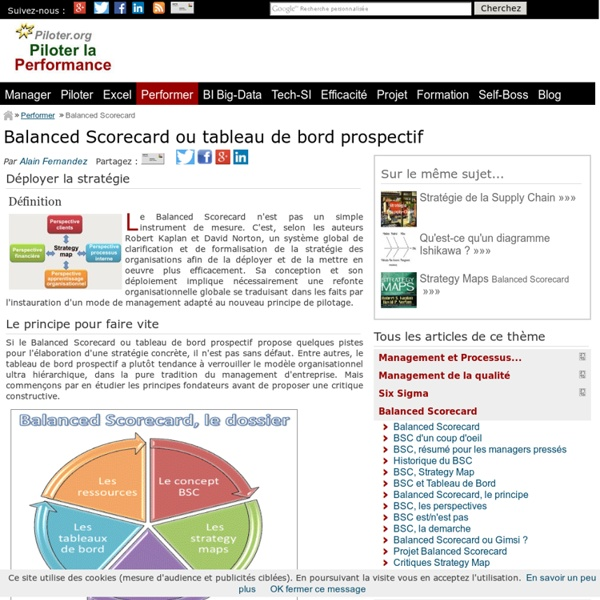 Balanced scorecard ou tableau de bord prospectif de Robert Kaplan et David Norton