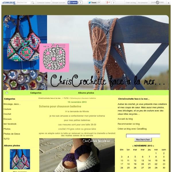 Schema pour chausson ballerine - ChrisCrochette face à la mer...