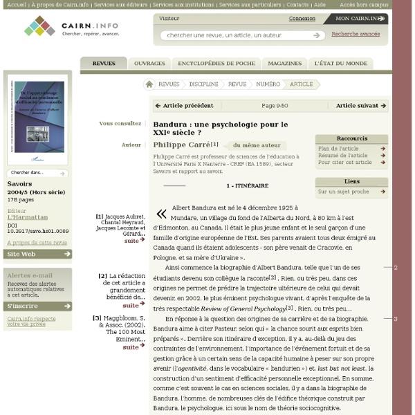 Bandura: une psychologie pour le XXIe siècle? - cairn.info
