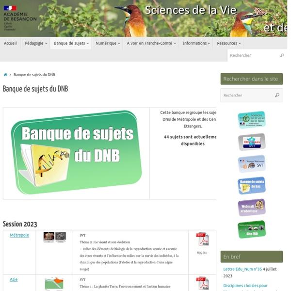 Banque de sujets du DNB – SVT – Académie de Besançon