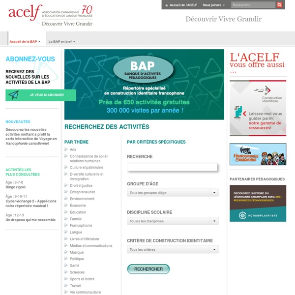 Acelf - Banque d'activités pédagogiques