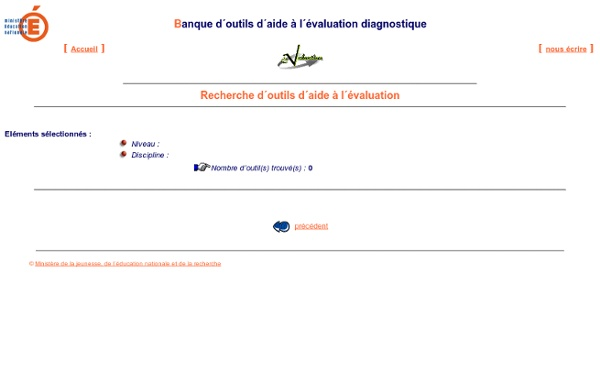 BANQUE D'OUTILS D'AIDE A L'EVALUATION