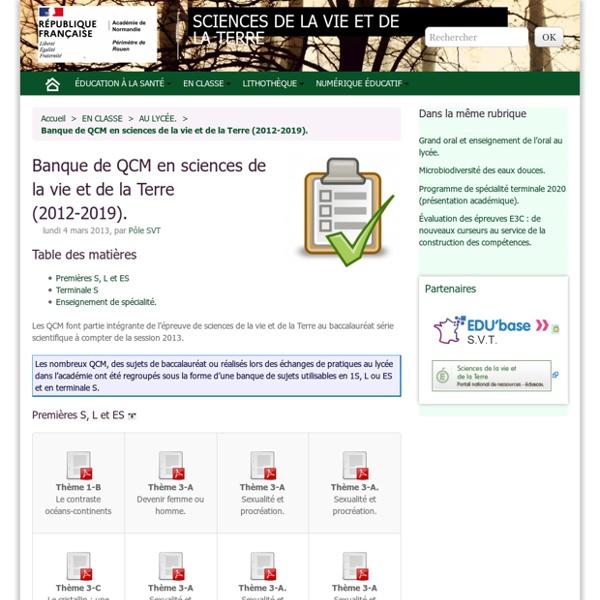 Banque de QCM en sciences de la vie et de la Terre.