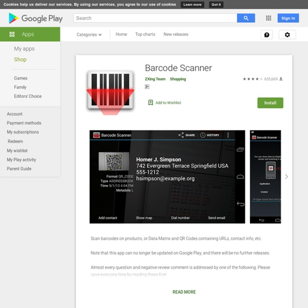 GooglePlay - QR code &Barcode Scanner | Pearltrees