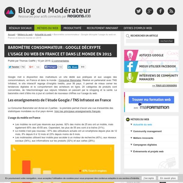 Baromètre consommateur : Google décrypte l'usage du web en France et dans le monde en 2015