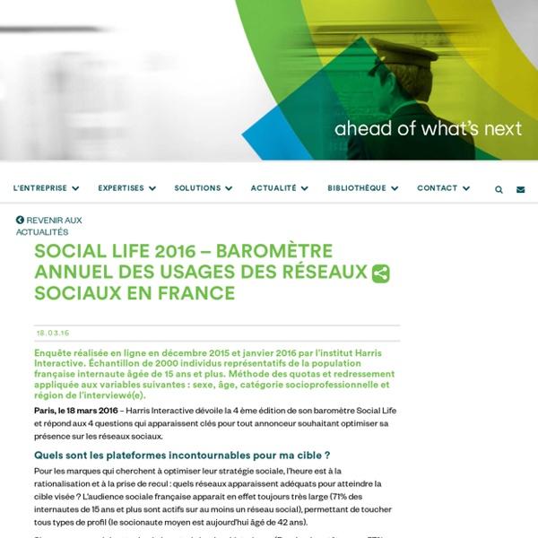 Social Life 2016 - Baromètre des usages des réseaux sociaux