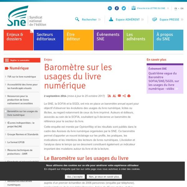SNE – Baromètre sur les usages du livre numérique