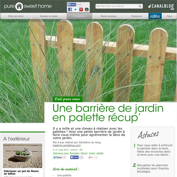 Une barri re de jardin en palette r cup 39 a l 39 ext rieur pearltrees for Barriere de jardin bois