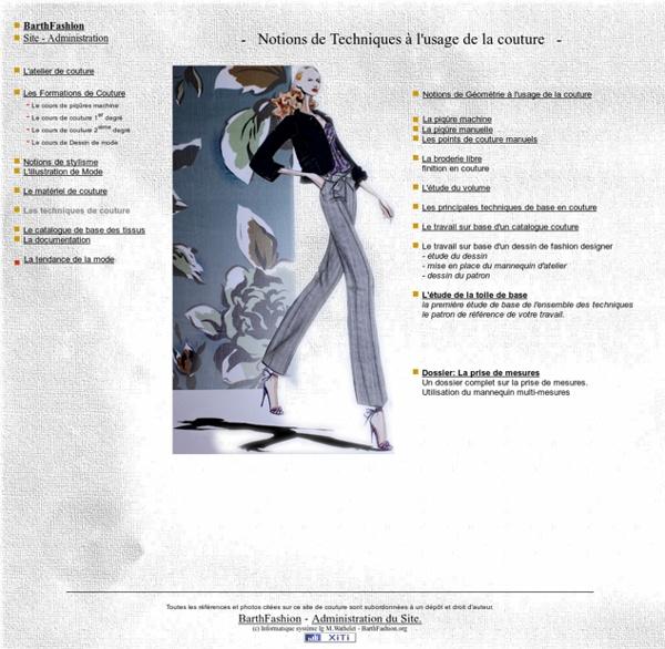 Barthfashion couture et stylisme, bases technique en couture