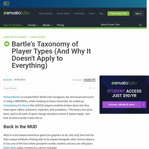 Bartle's Taxonomy of Player Types (And Why It Doesn't Apply to Everything)