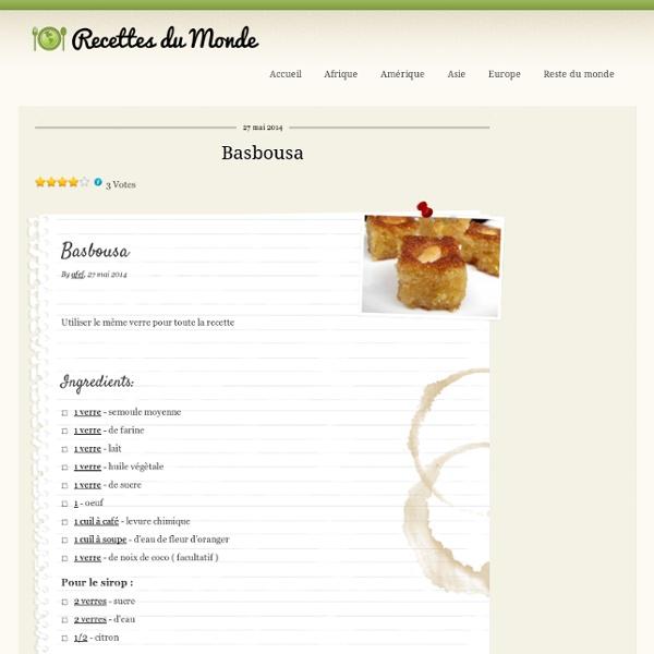 Basbousa - Recettes du monde