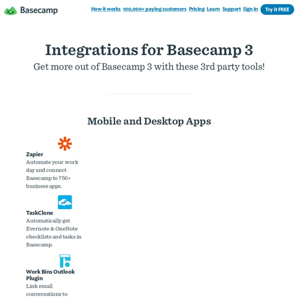 Integrations, Apps, and Add-ons to get more out of Basecamp.