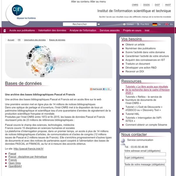 INIST Bases de données