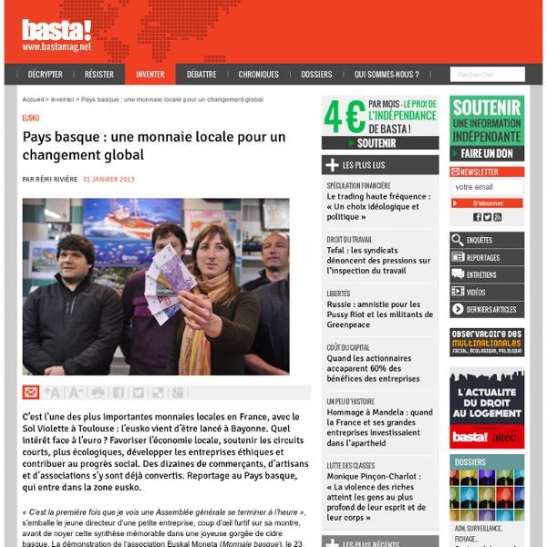 Pays basque : une monnaie locale pour un changement global - Eusko