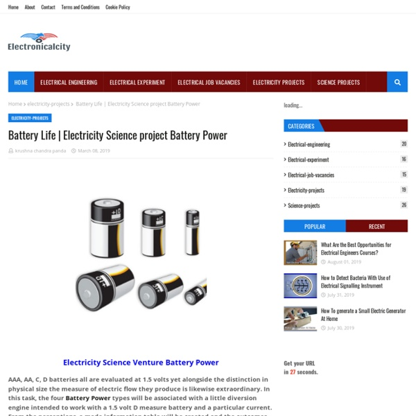 Electricity Science project Battery Power