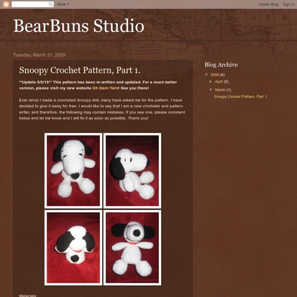 Snoopy Crochet Pattern, Part 1.